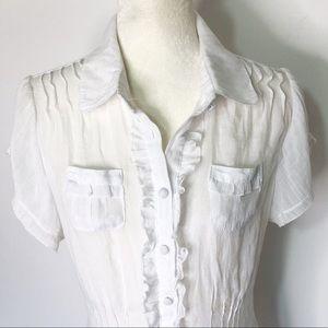 Pretty White Semi Sheer Short Sleeve Button Top 1X